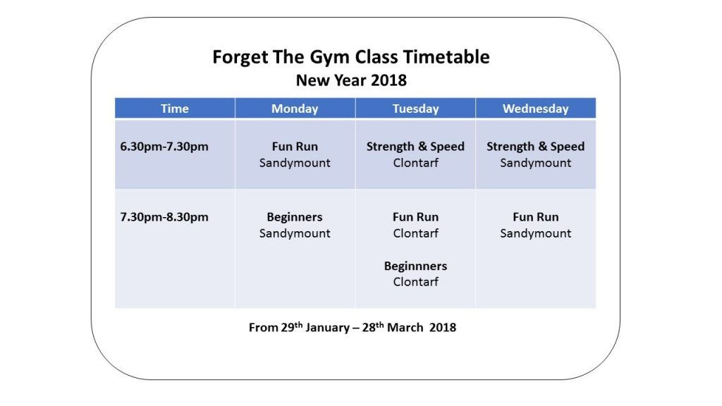 new year 2018 timetable