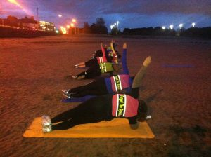 Side Planks on Beach