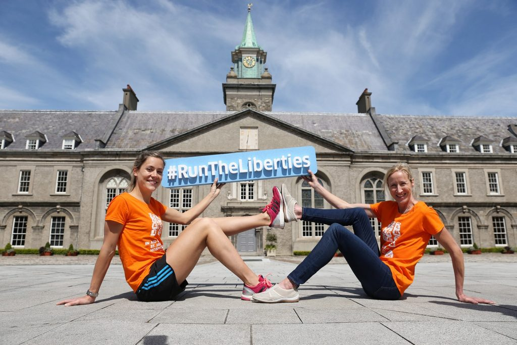 Repro Free: Monday 25th May 2015. Former long distance runner and World Cross Country Champion Catherina McKiernan officially launched the St James's Hospital Foundation Liberties Fun Run today. The annual 6km fun run, which is now in its 7th year, starts and ends in the historic Royal Hospital Kilmainham and is one of the few road races that Dublin City Council permits. Participants will pound the cobblestones of Dublin's Liberties taking in James's Street, St. James's Gate, St. Catherine's Church, Thomas Street, the National College of Art and Design, Francis Street, The Coombe and the Guinness Storehouse on July 16th from 7.45pm. Funds raised will go towards world-leading lung cancer clinical research and patient treatment at St James's Hospital. Pictured is former winner Dr Orla Drumm and Catherina McKiernan. Picture Jason Clarke Photography